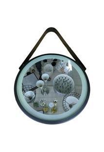 Espelho Preto Led 30Cm Iluminaçáo Alça Alumínio - Amigold