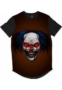 Camiseta Insane 10 Longline Palhaço Sangue Nos Olhos Sublimada Preta Marrom