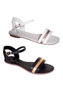 Kit 2 Pares Sandália Rasteirinha Feminina Em Couro Estilo Shoes Cc03120Pb