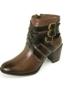 Bota Cano Curto Over Boots Riana Couro Marrom