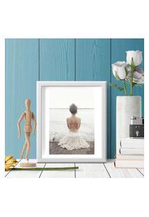 Quadro Decorativo Com Moldura Bailarina Branco - 20X30Cm