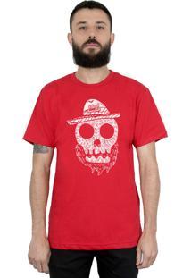 Camiseta Bleed American Beard Skull Vermelha.