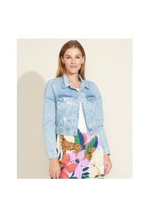 Jaqueta Jeans Feminina Cropped Com Bolsos E Puídos Azul Claro