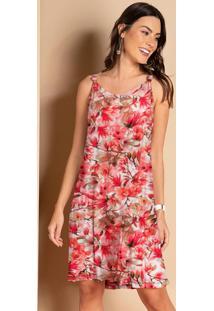 Vestido Floral Rosa Com Detalhe De Nó