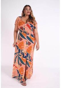 Vestido Kaue Plus Size Longo Elástico Cintura Feminino - Feminino-Laranja