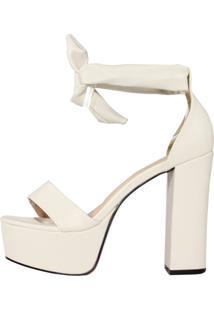 Sandalia Meia Pata Week Shoes Salto Grosso De Amarrar New Pele Gelo