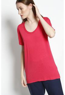 Camiseta Com Seda & Mangas Em Transparência - Pinklacoste