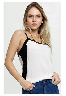 Blusa Feminina Bicolor Alças Finas