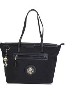 Bolsa Snoopy Shopper Bag Grande Feminina - Feminino-Preto