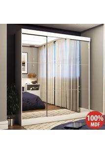 Guarda-Roupa Casal 3 Portas De Correr 100% Mdf Emily Ultra Com Espelho 28673 Branco - Pnr Móveis