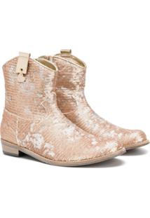 Monnalisa Ankle Boot Com Paetês - Dourado