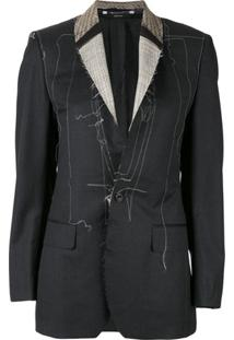 R13 Distressed Contrast Stitching Blazer - Cinza