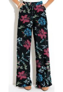Calça Pantalona Floral Preto Cintura Alta