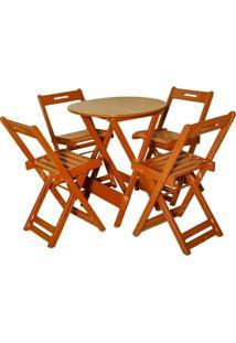 Jogo De Mesa Bar Tampo Redondo 70X70 Com 4 Cadeiras Dobrável Mel - Btb Móveis