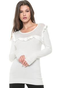 Suéter Facinelli By Mooncity Tricot Babados Branco