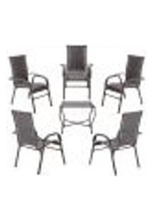 Conjunto Mesa Baixa E 5 Cadeiras Para Área Edicula Jardim Bela, Ferro E Fibra Trama Fechada Pedra Ferro