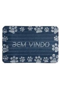 Capacho Carpet Bem Vindo Com Patinhas Azul Único Love Decor