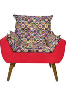 Poltrona Decorativa Kasa Sofá Opala Colorido Vermelho
