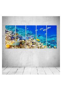Quadro Decorativo - Underwater World Ocean Fish Coral Reef - Composto De 5 Quadros