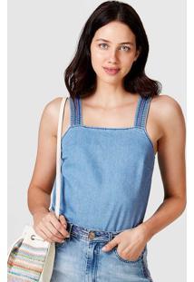 Regata Jeans Feminina Com Alças Em Pespontos Coloridos