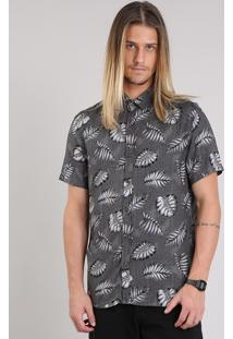 Camisa Masculina Estampada De Folhagem Manga Curta Chumbo