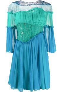 Alberta Ferretti Vestido Com Recortes E Acabamento De Babados - Azul