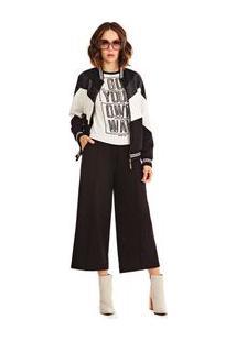 Blusa Decote Redondo Cavada Com Silk Off White