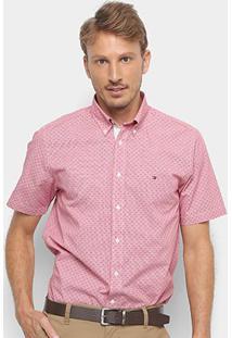 Camisa Tommy Hilfiger Ec Printed Houndstoo Masculina - Masculino-Rosa