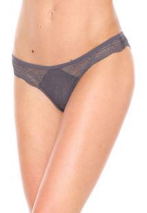Calcinha Calvin Klein Underwear Tanga Renda Cinza