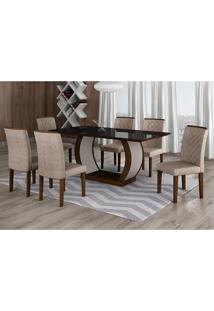 Conjunto De Mesa De Jantar Com 6 Cadeiras Maia Ii Suede Amassado Castor E Chocolate