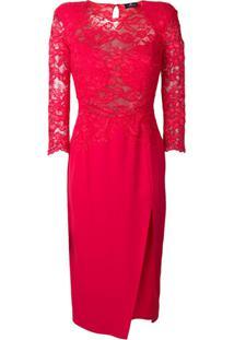 30d798d892 Ir para a loja  Elisabetta Franchi Vestido Midi Com Detalhe De Renda -  Vermelho