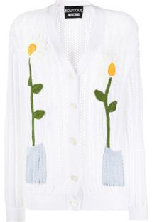 Moschino Cardigan De Tricô Com Estampa Floral - Branco