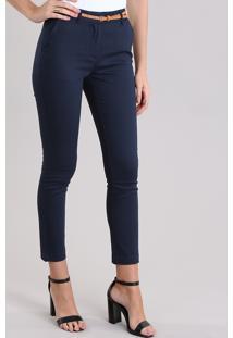Calça Skinny Em Piquet Com Cinto Azul Marinho
