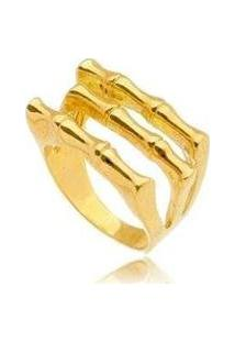 Anel Liso 3 Tiras No Banho Ouro - Feminino-Dourado