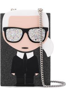 Karl Lagerfeld Bolsa Transversal K/Ikonik Karl - Preto