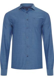 Camisa Masculina Diferenciada Lisa - Azul