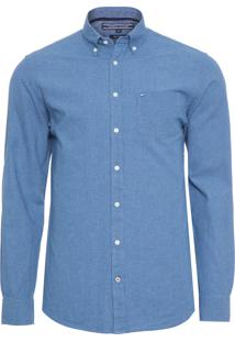 Camisa Masculina Micro Check - Azul