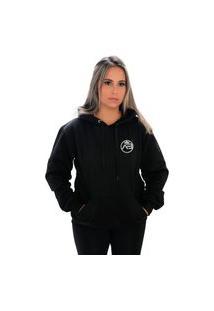 Blusa Moletom Amanda Brazil Logo Pequeno Preto