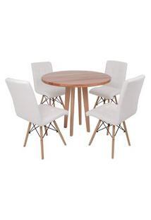 Conjunto Mesa De Jantar Em Madeira 90Cm Com Base Vértice + 4 Cadeiras Gomos - Branco