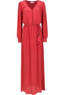 Olympiah Vestido Longo 'Bardini' De Seda - Vermelho