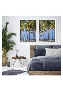 Quadro 65X90Cm Coqueiros Maragori Praia Alagoas Brasil Moldura Branca Sem Vidro