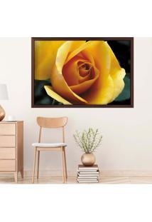 Quadro Love Decor Com Moldura Rosa Amarela Madeira Escura Médio