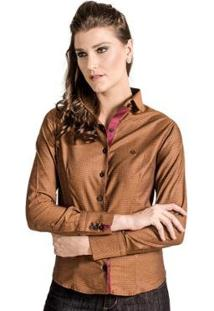 Camisa Slim Quadriculada Carlos Brusman Feminina - Feminino-Caramelo