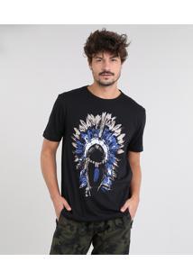 Camiseta Masculina Cocar Manga Curta Gola Careca Preta