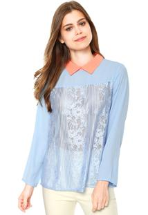 Camisa Mooncity Renda Azul