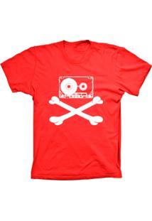 Camiseta Lu Geek Plus Size Fita Caveira Vermelho