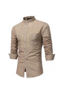 Camisa Masculina Slim Fit Gola Padre - Caqui