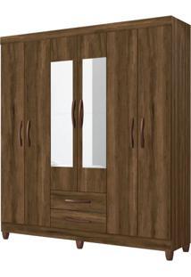 Guarda-Roupa Casal Com Espelho Ambar 6 Pt 2 Gv Cedro