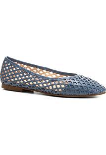 Sapatilha Couro Shoestock Bico Redondo Vazada Feminina - Feminino-Azul