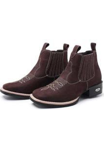 Bota Botina Feminina Texana Pessoni Boots Couro Cano Curto - Feminino-Marrom